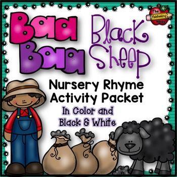 Baa Baa Black Sheep Nursery Rhyme Activity Packet