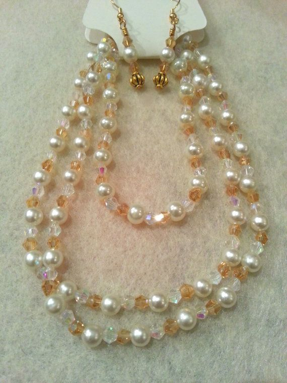 Elegant Set  Gold Swarovski Crystal and by FrantasticCreationz, $20.00