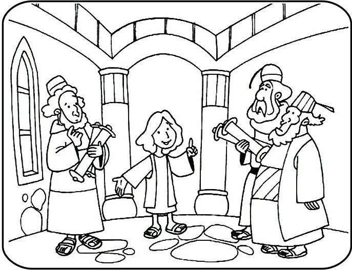 Jesus Teaching In The Temple Coloring Page Jesus At The Temple In