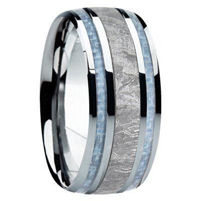 9 mm meteorite mens wedding bands m740fs - Mens Black Wedding Rings