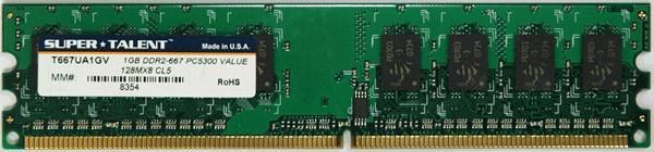 Super Talent DDR2-667 1GB-128x8 Memory