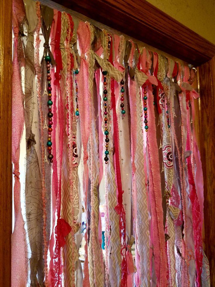 Beautiful Boho Curtains Door Curtains Gypsy Curtains Closet Door Curtain Pink Silver  Gray