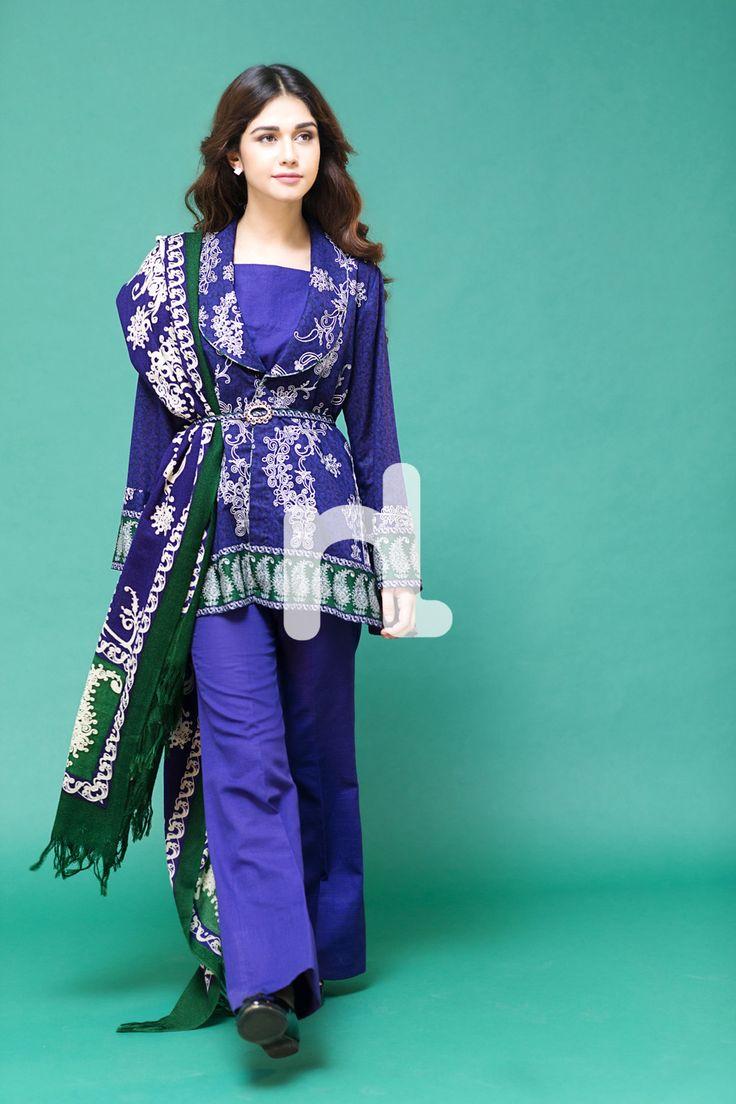Latest Pakistani Fashion 2017-18: Medium Shirts with Cigarette Pants