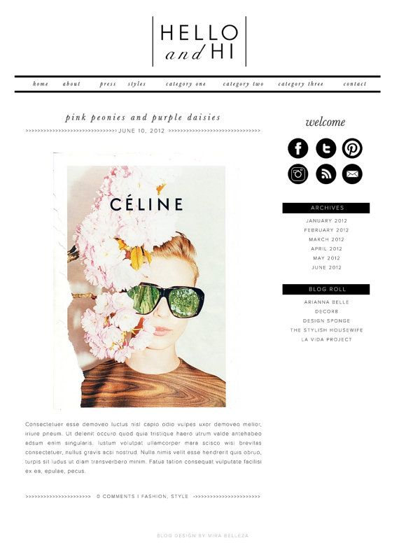 PreMade Wordpress Blog Template l Hello and Hi by mirabelleza, $55.00