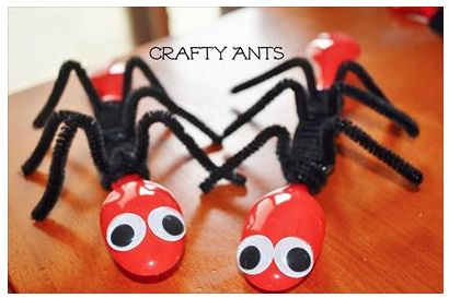 Crafty Ants made from red spoons, black pipe cleaners, and goggly eyes. (Image only)