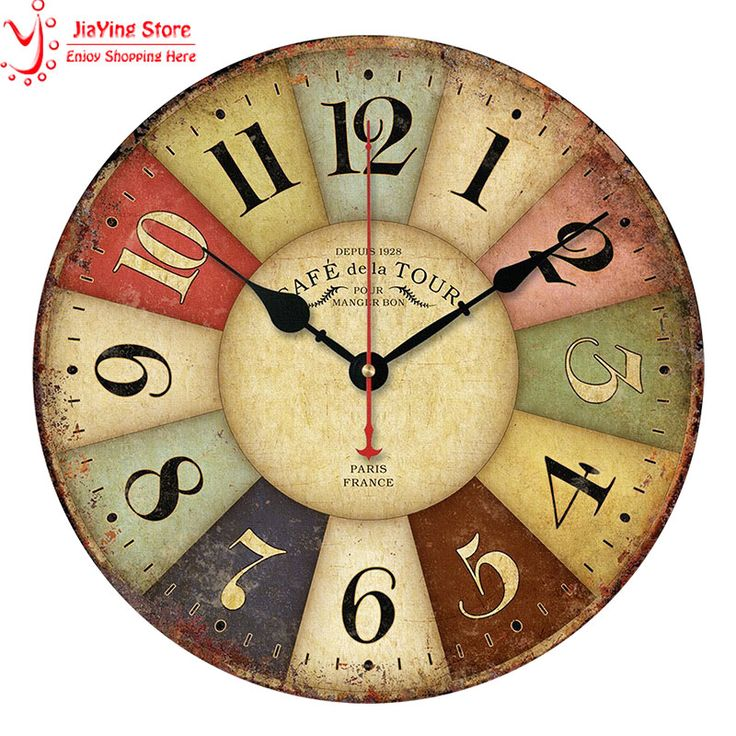 2016 New Best Roman Numeral Number Rustic Wood Wall Clock 3D Home Decor Living Room Wall Clock European Style Colorful