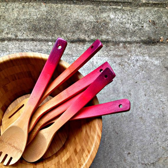 ombre wooden spoons