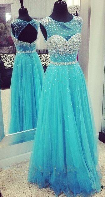Luxury Eveing Dresses Chiffon Tulle A-Line Dress Long A-Line DRESSES BLUE Evening
