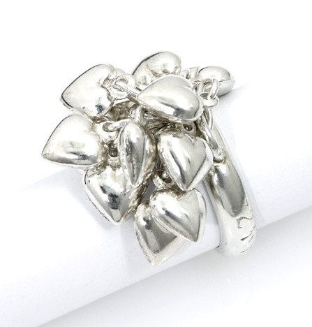 Women's Silver Ring With 13 Heart Charms Kabbalah Style - Love Jewelry - Handmade per Order