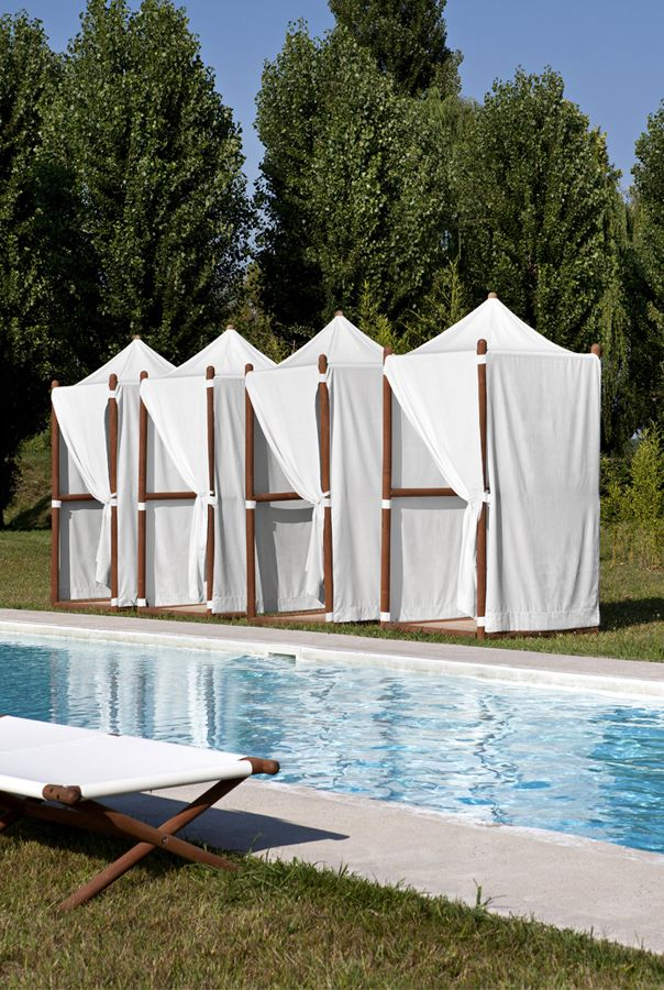P Poolside White Canvas Changing Cabanas P