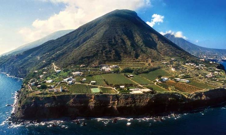 Salina, volcanic island in the Aeolian Sea, Italy