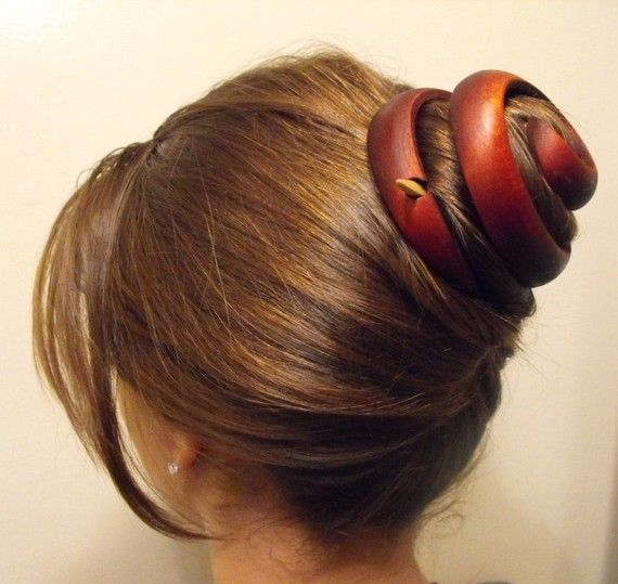 Wooden Handcrafted Hair Jewelry Ornament Maroon Spiral Long Hair Natural