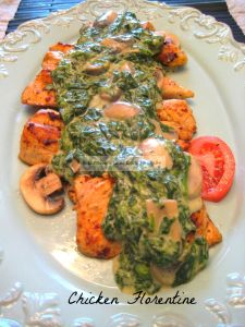 If you like chicken and you like creamed spinach, I just KNOW you'll love my delicious Chicken Florentine. It's the best of both worlds! This has been one of the most popular recipes on my site, my Pinterest board and here as well, with a lot of positive feedback on how delicious it is. Hope you'll try it! ~ Peggy  or use turkey
