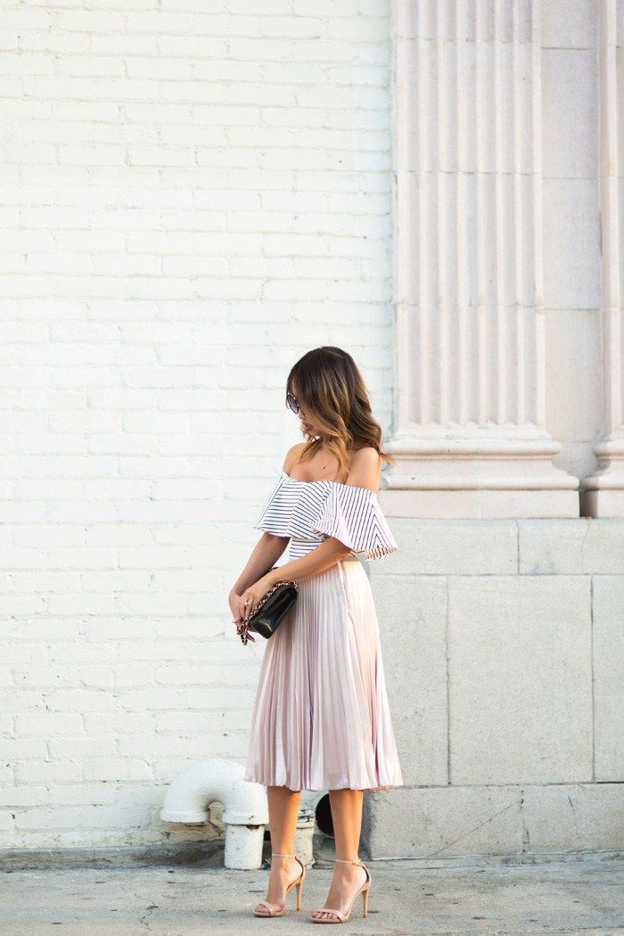 Off the shoulder, elegant, lace dress, effortless wedding guest attire.