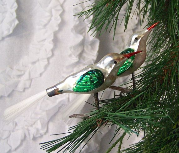 Vintage Clip on Bird Christmas Ornaments Spun by CynthiasAttic