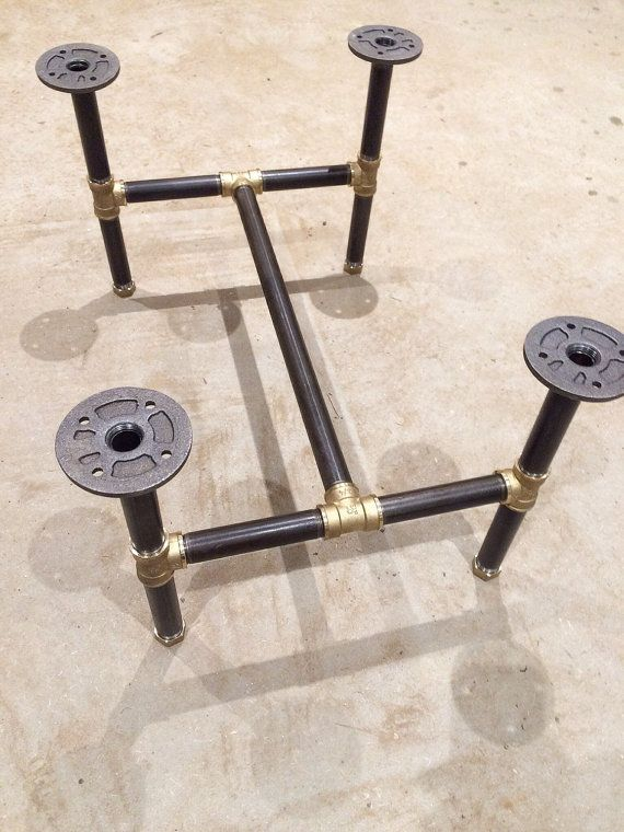 Black steel threaded pipe table legs gives a great industrial look to any table top. Length: 61cm Width: 45cm Height: 35cm  It will come in a few