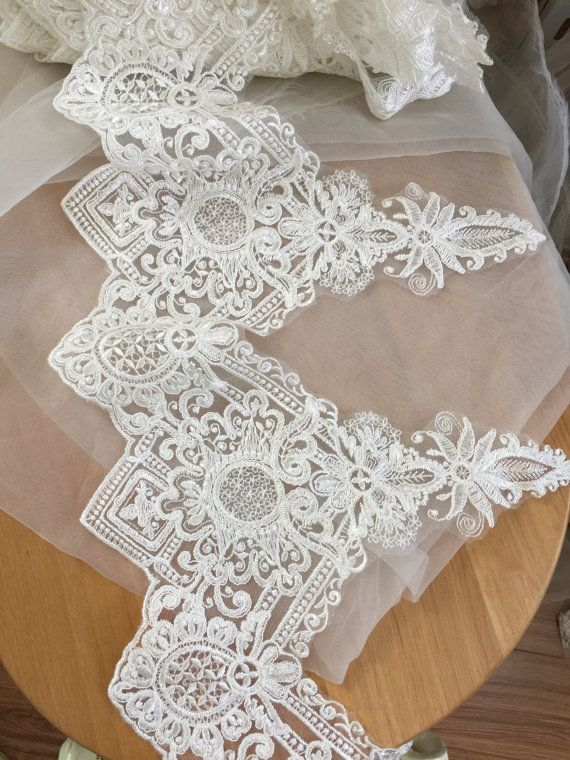 Vintage Style Alencon Lace Trim in Ivory Wedding Veil by lacetime