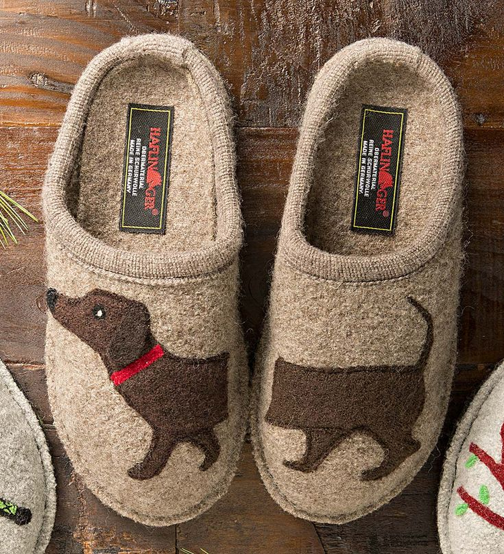 Women's Boiled Wool Dog Slippers with Non-Slip Soles