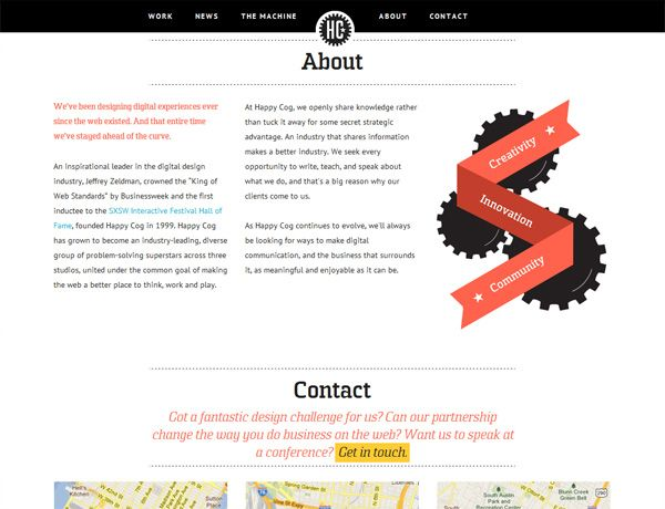 Clean website design example: Happy Cog