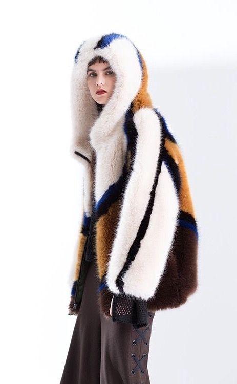 Multicolored Fox Fur Hooded Jacket