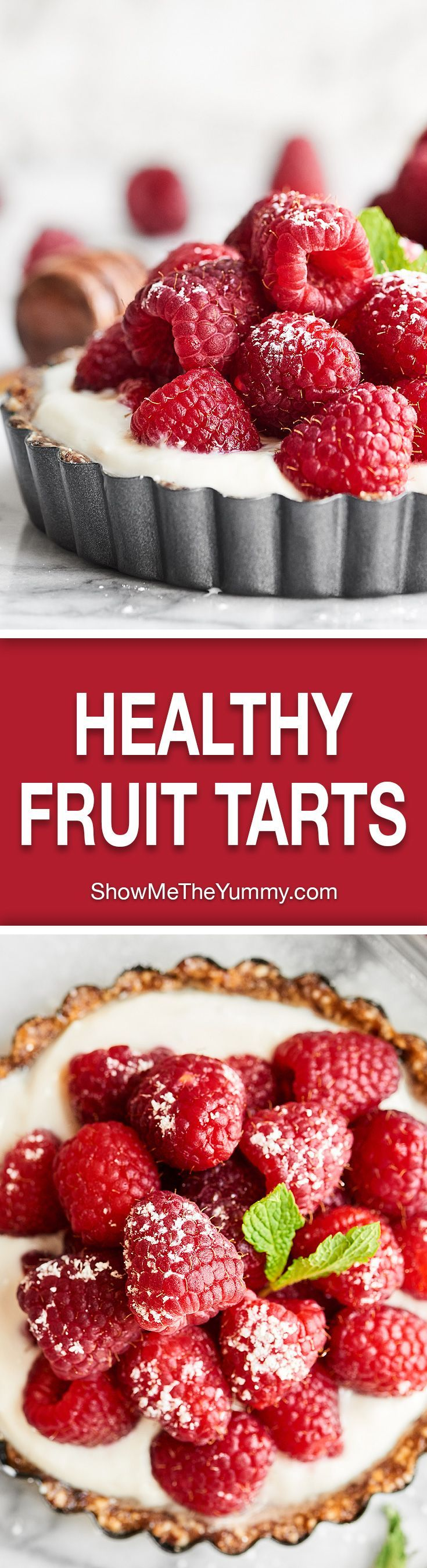 Only 5 ingredients - cashews, raisins, vanilla, yogurt, raspberries - & 10 minutes needed to make these Healthy Fruit Tarts! Great for breakfast or dessert! #ad #finestberries #raspberrydessert #healthy @DriscollsBerry