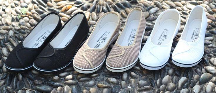 nova moda feminina clássico preto e branco de salto cunha tecido sapatos confortáveis sapatos casuais para