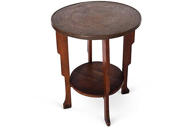 Oak & Copper Side Table on OneKingsLane.com
