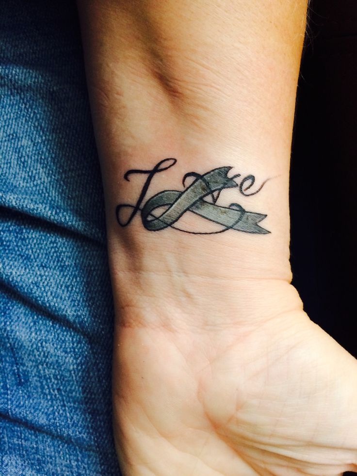 Love tattoo brain cancer ribbon