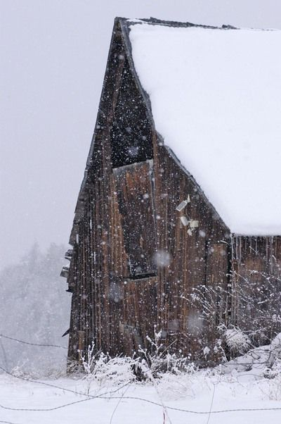 I love barns and snow. Perfect picture.