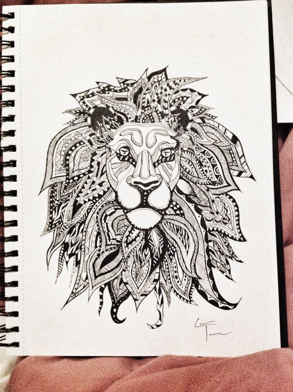 Lion Zentangle Design by TelferZentangle on Etsy
