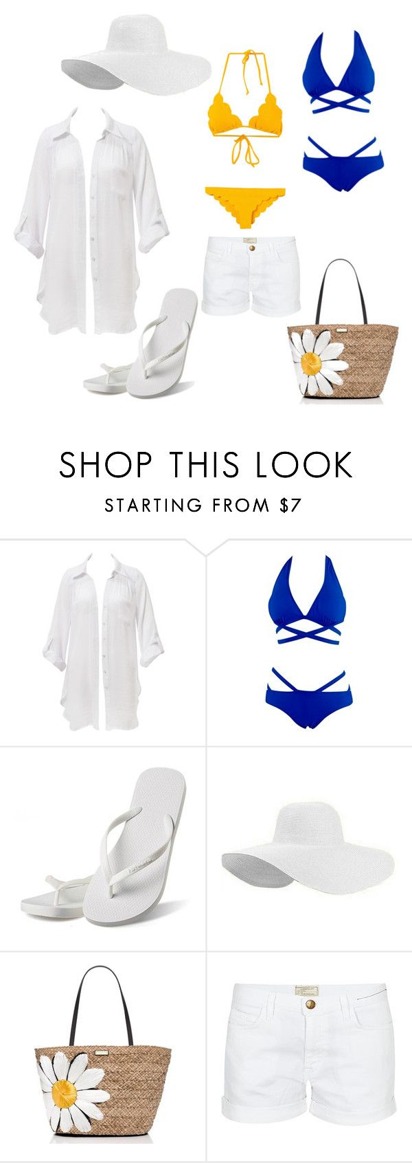 """Beach"" by balog-viki on Polyvore featuring Beauty & The Beach, Hotmarzz, Kate Spade, Current/Elliott and Marysia Swim"