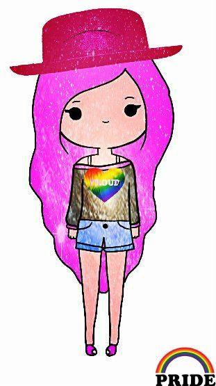 Chica con pelo rosa y sombrero