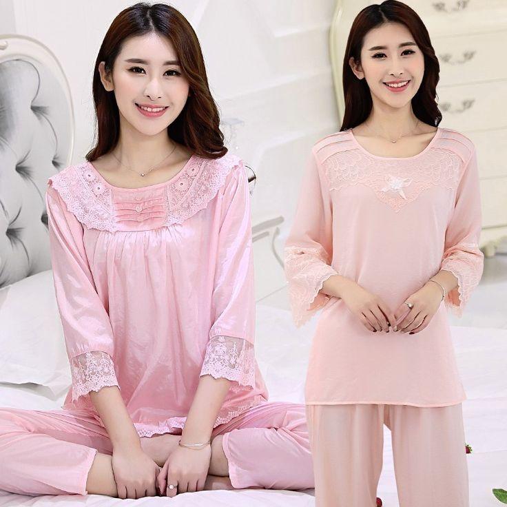 Upscale Women Gift Pajama Sets Silk Satin Lace Embroidered Pajamas Pijama Female Short Sleeve Long Pants Sleepwear Pyjama Summer #Affiliate