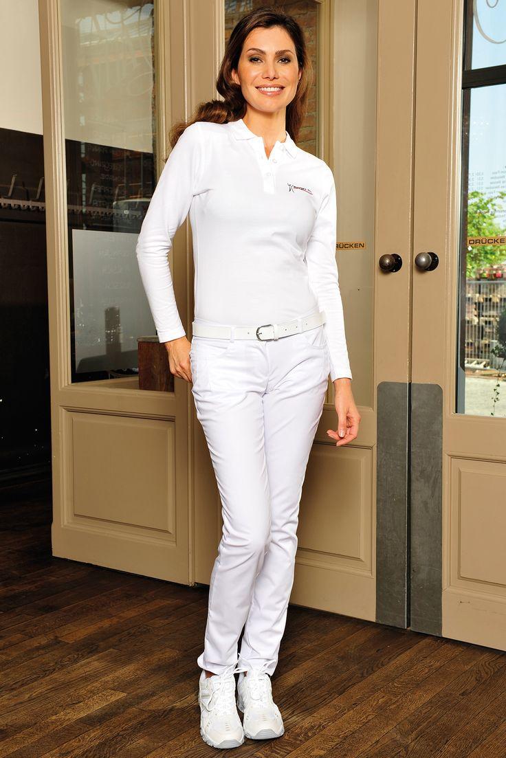 Damen Hose Doris weiß, Five-Pocket-Form, BI-Stretchgewebe (längs-und querelastisch), Motivstick auf Gesäßtaschen, mit modischen Nieten