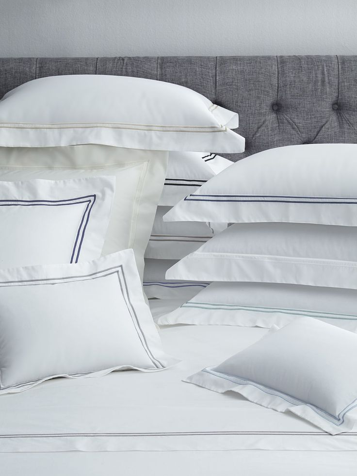 These crisp and tailored linens grace the beds of some of the finest five-star hotels in the world. As our best selling percale sheet set, Grande Hotel is embroidered with double rows of satin stitch by our masters in Italy. #DoubleBedSheets