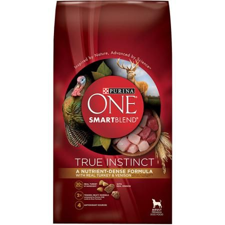 Purina ONE SmartBlend Dry Premium Dog Food, True Instinct with Real Turkey and Venison, 15 lb Bag
