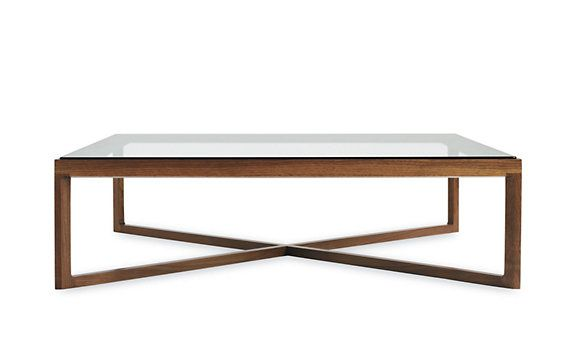 Design Within Reach Krusin Coffee Table with Glass Tabletop. I always love a square coffee table, I like the wood base here (with wood color options), you don't usually see a glass table with a wood base