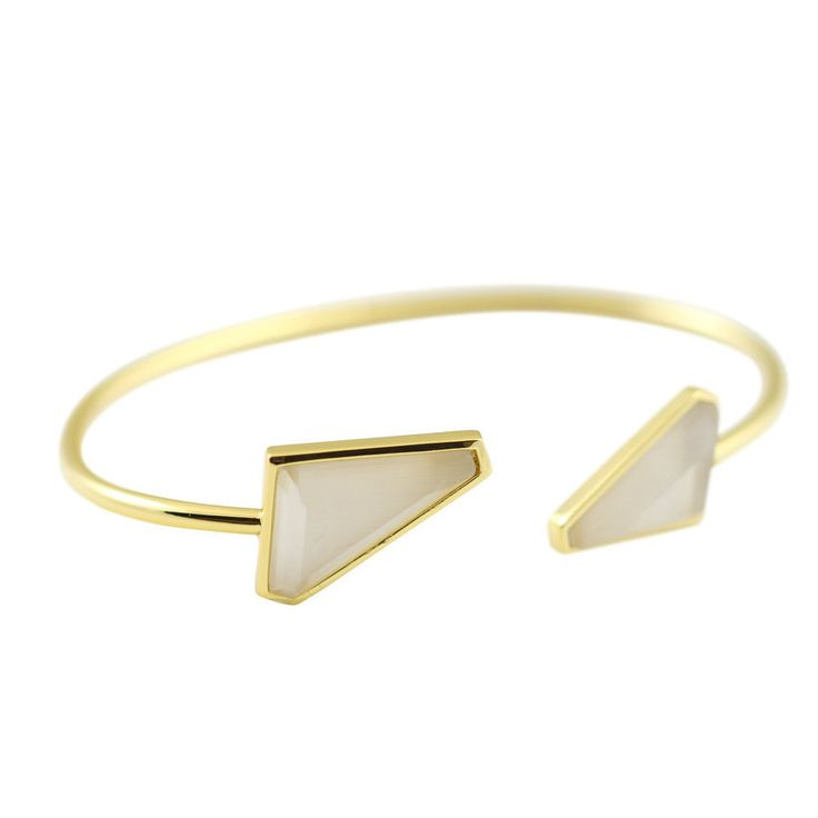 Visibly Interesting: One Oak by Sara open front cuff bracelet with geometric white Cats Eye stones