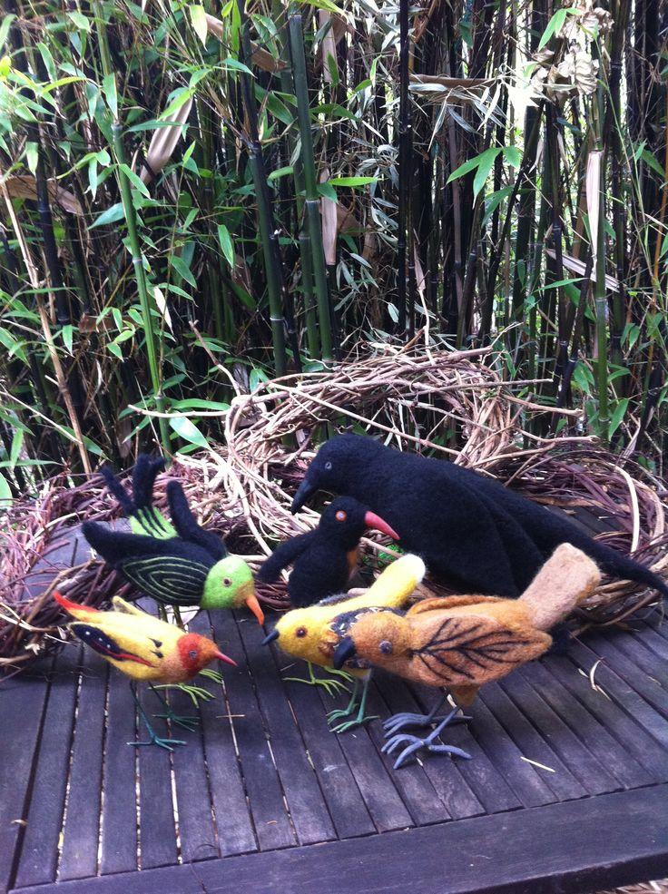 a meeting of the felt birds - Elaine Beechey
