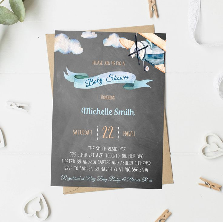 Baby Shower Invitation Boy, Vintage Airplane Baby Shower, Blue And Orange, Chalkboard Invitation, Printable, Printed Baby Shower Invitation