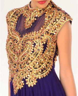 Deep Aubergine Gota Patti Embellished Kalidar Suit