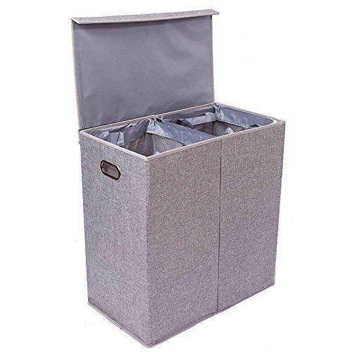 Laundry-Basket-With-Lid-Double-Hamper-Storage-Washing-Clothes-Modern-Design-Grey