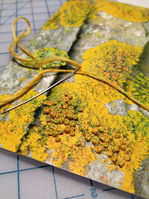 embroidering french knots on a photo of lichen. via http://timothea.tumblr.com