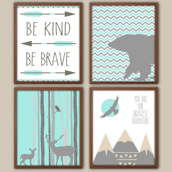Chevron Nursery Decor - Be Kind Be Brave - Tribal Nursery - Adventure - Bear - Stag - Mountains - Nursery Quote - Tepee - Set Of 4