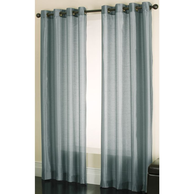 Shop Allen + Roth Edistone 95 In L Solid Blue Grommet Window Sheer Curtain  At