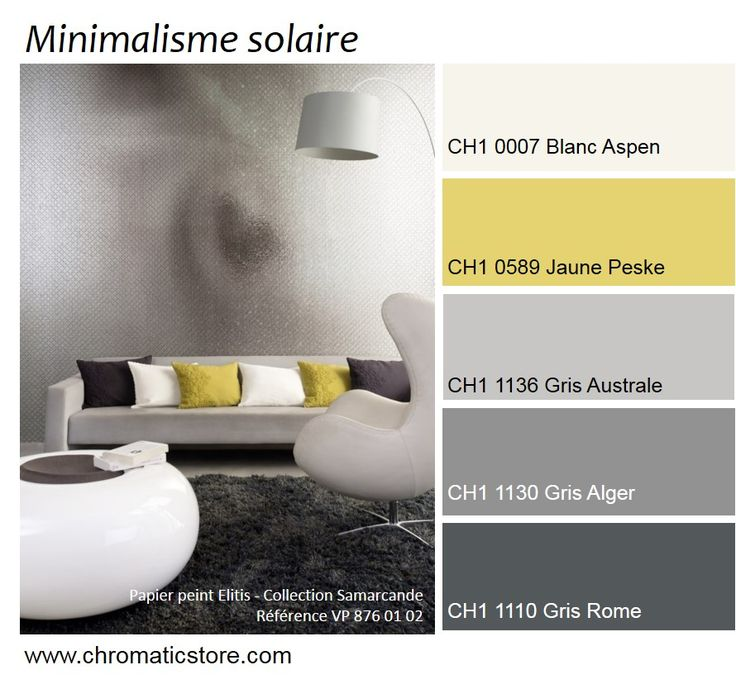 Association toujours réussie de différentes tonalités de gris et de jaune pour des ambiances lumineuses très contemporaines. www.chromaticstore.com #deco #jaune #gris