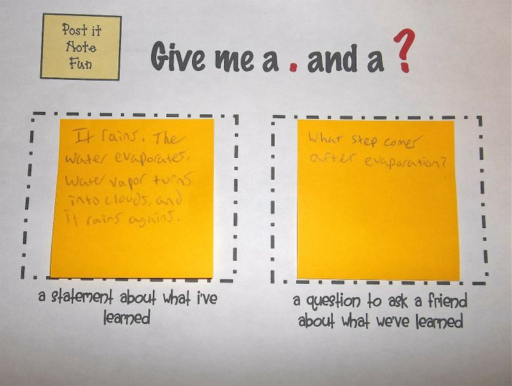 set it up on their desks...a statement and a question (or quiz question) to end a lesson. Exit slip...