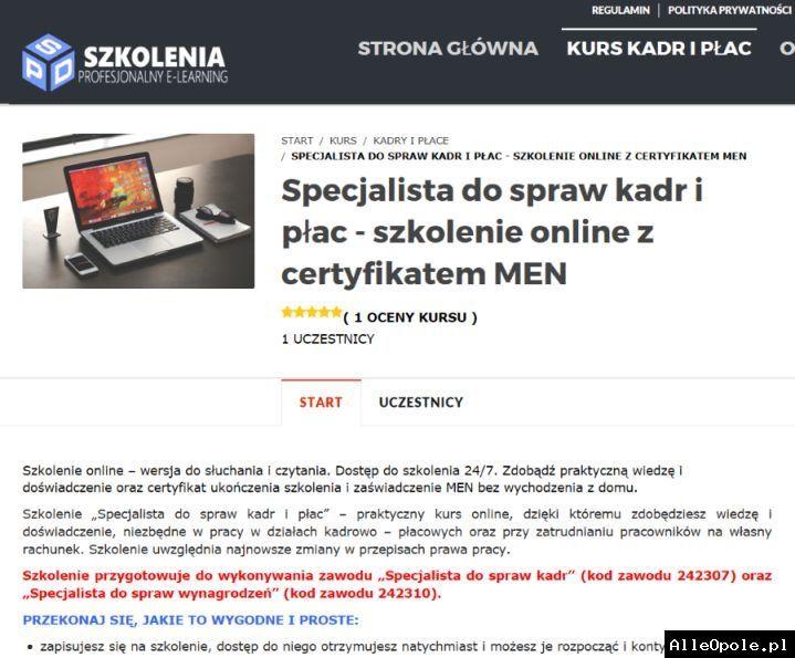 Kurs Specjalista ds. kadr i płac- wideoszkolenie online (Opole)  http://www.alleopole.pl/
