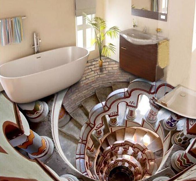Take A Look At Some Of The Coolest Bathroom Floor Designs. The Effect Makes  The Bathroom Floor Come Alive
