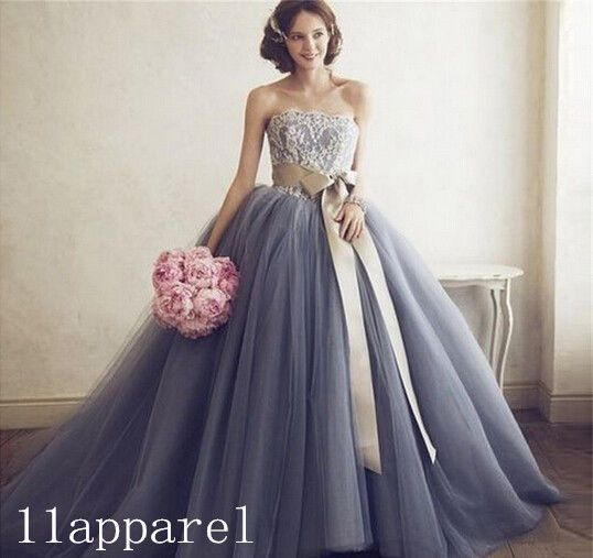 Color Ball Gown Lace Bow Belt Wedding dress Bridal Gown custom Size 2 4 6 8 10+